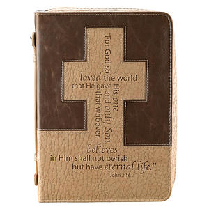 John 3: 16/Cross (Tan/Brown) Bible Cover- Medium