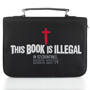 """""""This Book Is Illegal"""" Micro-Fiber Bible Cover, Large"""