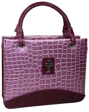 Cross (Purple) Metallic Croc Purse-Style Bible Cover- Medium