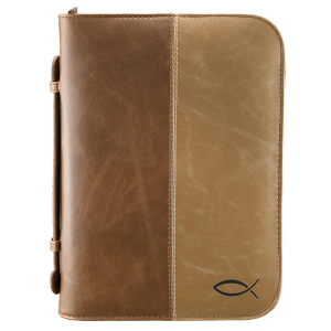 Fish (Tan/Brown) Two Tone LuxLeather Bible Cover, Large