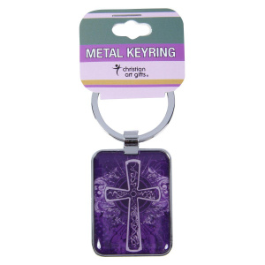 Purple Cross - Metal Keyring