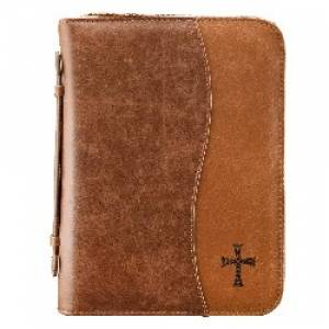 Cross (Brown) Two Tone LuxLeather Bible Cover- Large