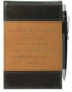 """""""Strong & Courageous"""" Two-tone Pocket Notepad w/Pen"""