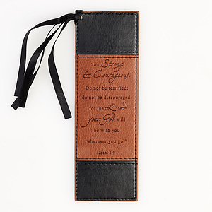"""""""Strong & Courageous"""" Two-Tone Faux Leather Pagemarker / Bookmark - Joshua 1:9"""