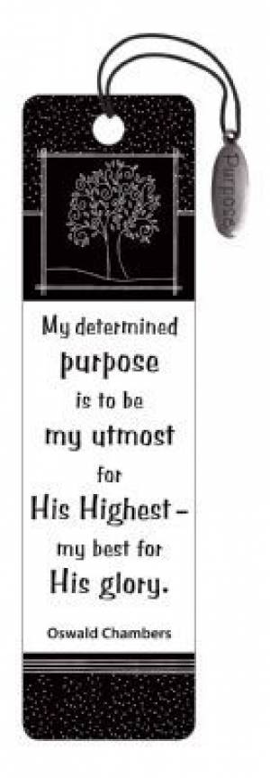 """""""My Utmost for His Highest"""" (Black & White) Bookmarks w/ Charm"""