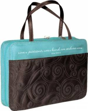 1 Cor. 13: 4 (Turquoise/Brown) Micro-Fiber Bible Cover- Medium