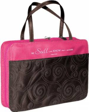 Pink Micro-Fiber Purse-Style Quilt Stitched Bible- Psalm 46:10- Large