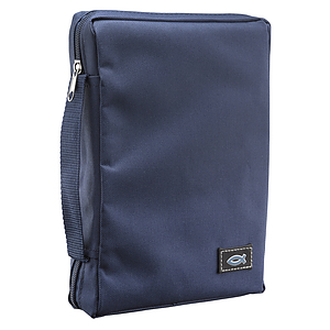 Fish Applique (Navy Blue) Poly-Canvas Bible Cover, XSmall
