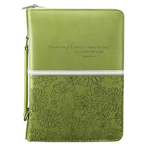 Jer. 29:11 (Lime/Floral) LuxLeather Bible Cover- Large