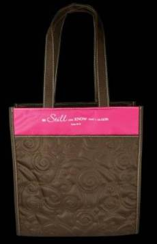 Pink & Brown Micro-Fiber Quilt Stitched Tote Bag - Psalm 46:10