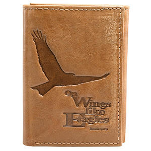 Saddle Tan Genuine Leather Tri-Fold Wallet - Isaiah 40:31
