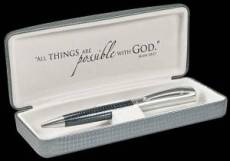 Fine Oyster Gray Embossed Writing Pen w/Cross