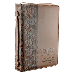 """Trust"" (Brown) LuxLeather Bible / Book Cover, Medium"