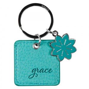 Teal Leather Keyring with Grace Eph.2:8
