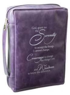 Serenity Prayer (Purple) Leather-Look Bible Cover- large