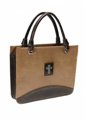 Cross (Tan) Vintage Finish Purse-Style Bible Cover- Large