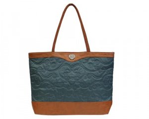 Embroidered Micro-Fiber Teal Tote