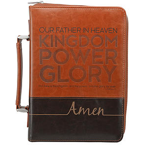 Bible Cover Large Brown - The Lord's Prayer - Imitation Leather
