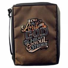 """""""Love The Lord Your God"""" (Deut6:5) Poly-Canvas Bible Cover M"""