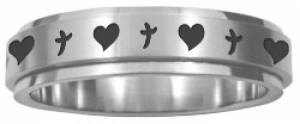 Spinner Ring Hearts 'n' Crosses Size 7