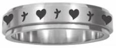 Spinner Ring Hearts 'n' Crosses Size 8