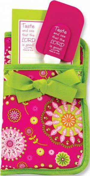 Oven Glove Kitchen Gift Set - Pink and Green