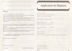 Application for Baptism: Form B1 : Pack of 50