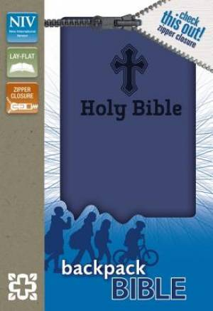 NIV, Backpack Zipper Bible, Imitation Leather, Blue, Red Letter