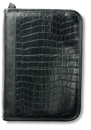 Alligator Print Leather Look Organiser: Black, Large