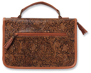 Western Tooled Bible Cover: Brown, Large