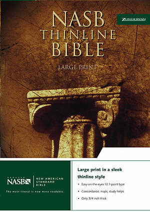 NASB Thinline Bible: Black, Bonded Leather, Large Print