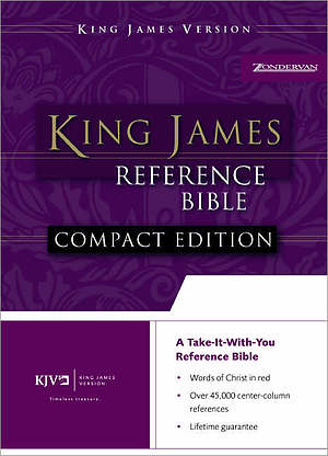 KJV Compact Bible: Black, Bonded Leather, Reference, Button Flap