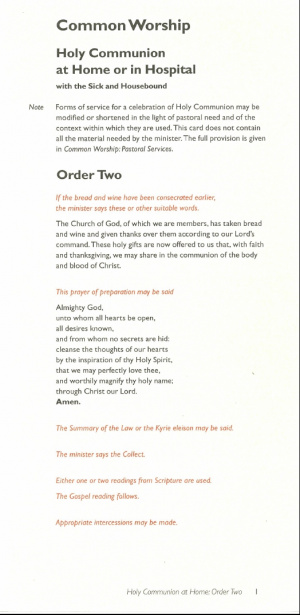 Common Worship: Holy Communion at Home/Hospital Order Two Card