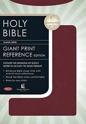 NKJV Personal Size Giant Print Reference Bible Imitation Leather Burgundy