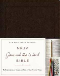 NKJV, Journal the Word Bible, Bonded Leather, Brown, Red Letter Edition