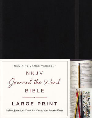NKJV, Journal the Word Bible, Large Print, Hardcover, Black, Red Letter Edition