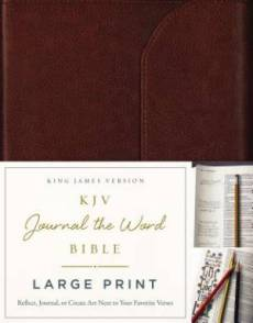 KJV, Journal the Word Bible, Large Print, Premium Leather, Brown, Red Letter Edition