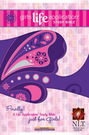 NLT Girls Life Application Study Bible: Butterfly Pink, Imtiation Leather