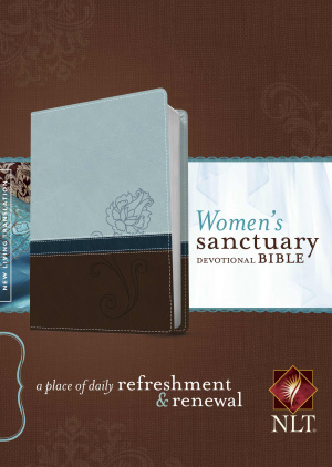 NLT Womens Sanctuary Devotional Bible: Blue/Chocolate Rose, Leatherlike