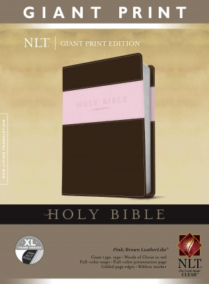 NLT Holy Bible Giant Print Pink Brown Imitation Leather