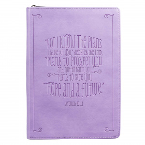 Jeremiah 29:11 Zippered Purple Flexcover Journal