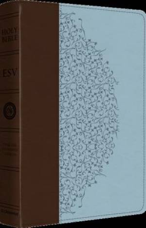 ESV Study Bible Personal Size Lth Lk Brown Blue Ivy