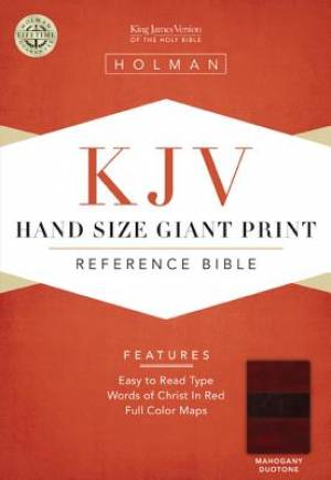 KJV Hand Size Giant Print Reference Bible - Mahogany Duotone Simulated Leather
