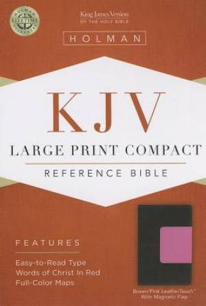 Kjv Large Print Compact Bible, Brown/pink Leathertouch With Magnetic F