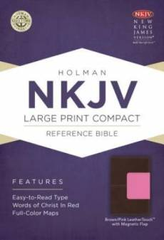 Nkjv Large Print Compact Reference Bible, Brown/pink Leathertouch With