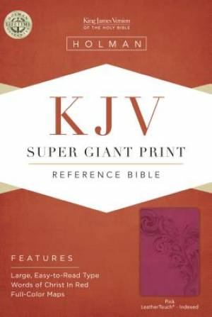 Kjv Super Giant Print Reference Bible, Pink Leathertouch Ind