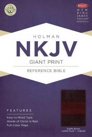Nkjv Giant Print Reference Bible, Saddle Brown Leathertouch Indexed