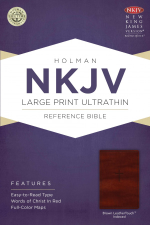 NKJV Large Print Ultrathin Reference Bible Imitation Leather Brown Thumb Index