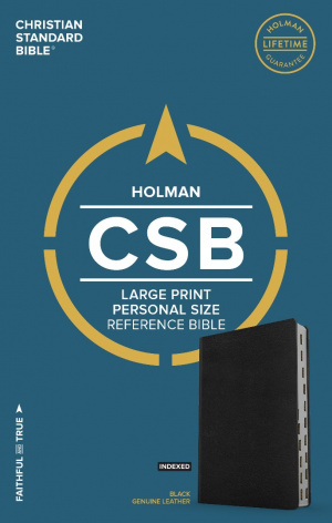 CSB Large Print Personal Size Reference Bible, Brown Genuine