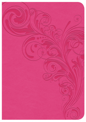 CSB Large Print Compact Reference Bible, Pink Leathertouch,